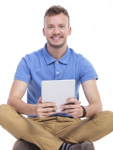 Man With Tablet Sitting